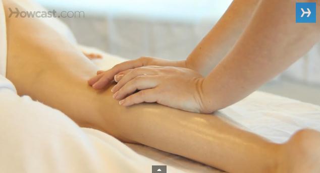 Placing Stones for Back Leg Massage